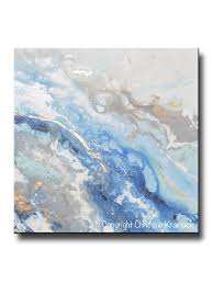 gold leaf home decor print art blue white abstract painting marbled coastal decor