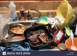 As Pile Of Dirty Dishes In A Kitchen Sink Stock Photo Royalty - Dirty kitchen sink