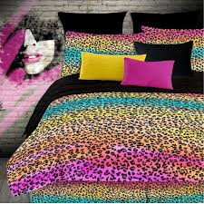 colorful leopard animal print bedding set for girls kidsroomstore