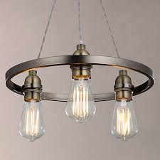 Pewter Ceiling Lights Lewis Bistro Hoop Pendant Ceiling Light 3 Light Pewter