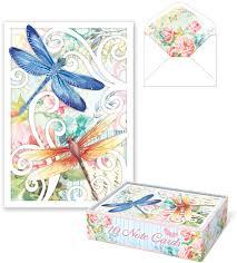 dragonfly swirl die cut note cards punch studio fairyglen