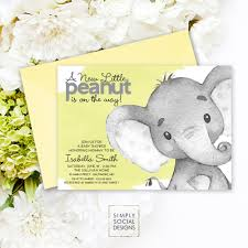 elephant baby shower invitation gender neutral watercolor