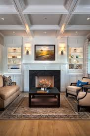 White Ceiling Beams Decorative by Orange County Built Ins Around Fireplace Living Room Traditional