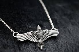 silver bird pendant necklace images 1pc handmade flying crow pendant antique silver raven totem jpg