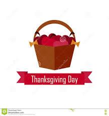 apple basket on thanksgiving day vector flat stock illustration