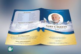 modern funeral programs blue ribbon funeral program publisher template on behance