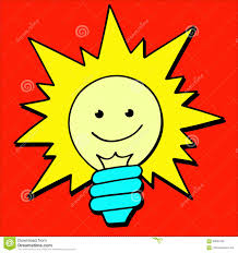 cartoon light bulb idea sign solution thinking concept stock