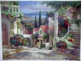 oil paintings of flower gardens rose garden oil painting garden