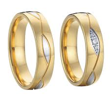 discount wedding rings wedding band engagement rings for women and men jewelry gold color