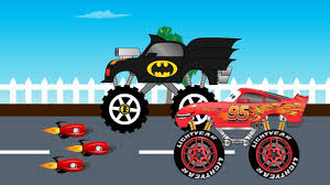 kids monster truck video batman truck vs lightning mcqueen monster truck video for kids