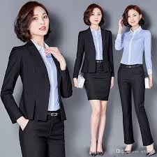 the female suit business attire hotel front desk work clothes in