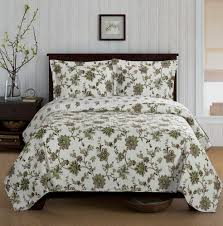 country cottage green floral quilt coverlet set oversized floral