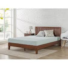 zinus queen 12 inch deluxe solid wood platform bed with headboard