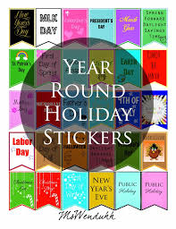 year stickers holidays planners and