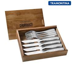 tramontina 8 piece stainless steel cowboy jumbo steak knife knives