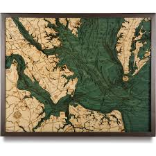 Topographical Map Of Virginia by Norfolk Va Wood Map 3d Nautical Topographic Chart Framed Art