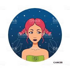 cancer colors zodiac color avatar young beautiful cartoon woman astrology symbol of