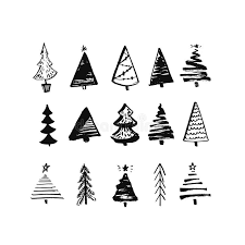 hand drawn christmas tree set of sketched illustrations of firs
