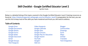 Google Doc Table Of Contents Skill Checklist Google Certified Educator Level 2 Google Docs