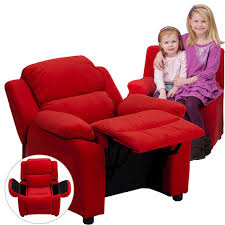 Toddler Reclining Chair Deluxe Heavily Padded Contemporary Kids Recliner With Storage Arms
