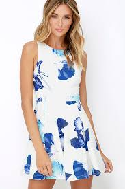 floral dresses pretty blue and ivory dress floral print dress skater dress
