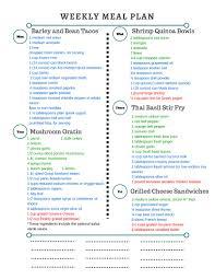 Grocery List Word Template Healthy Weekly Meal Plan With Grocery List Grocery List Template