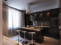 Black Kitchen Island With Stools Chrome Bar Stools With Pedestal Base Added By Black Glossy Wood