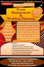 Wedding Planner Certification Diploma Certification In Event Management U0026 Wedding Planning Lahore