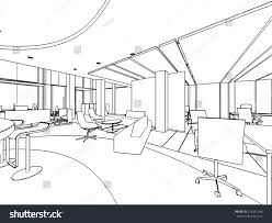 outline sketch drawing interior space office stock vector
