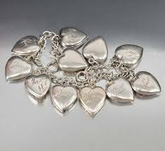 heart charm bracelet sterling silver images Vintage sterling silver puffy heart charm bracelet boylerpf jpg