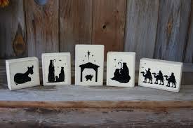 christmas nativity scene wood blocks 5 piece wooden nativity