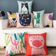 Korean Home Decor Aliexpress Com Buy Korean Small Fresh Art Pillowcase Cactus Cat