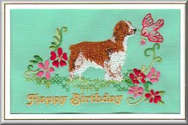 welsh springer spaniel birthday card embroidered by dogmania 8 x6
