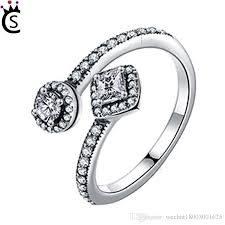 round square rings images 100 s925 sterling silver round square dazzling cz open finger jpg