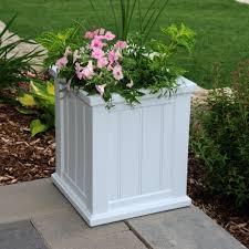 mayne cape cod 16 in square white plastic planter 4837 w the