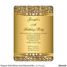 elegant gold glitter look diamond birthday party card gold