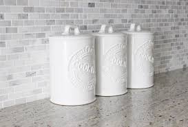 Kitchen Counter Canisters Placing White Kitchen Canisters From Ceramic To Prettify Your