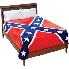 Confderate Flag King Queen Size Plush Thick Confederate Rebel Flag Blanket