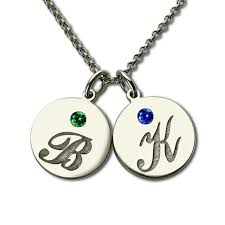 Kids Names Necklace Personalized Initial Disc Necklace With Birthstone Silver Engraved