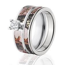camouflage wedding rings mossy oak camo bridal set camo wedding rings pink