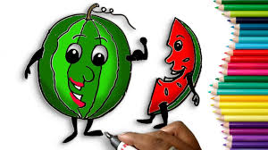 how to draw a watermelon step by step easy for children learn to