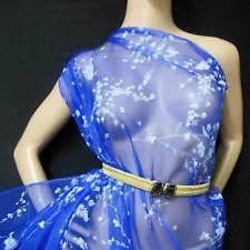 Buy Royal Blue Pure Silk Real Pure Silk Crinkle Chiffon Fabric Royal Blue By Yard Sheer Ebay