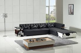 Cowhide Print Modern Black Leather And Cow Print Sectional Sofa