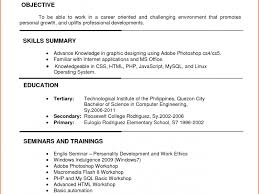 Sample Objectives Resume by Career Objective Ojt