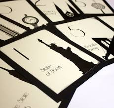 themed table numbers nyc table number new york city wedding decor reception sign cards