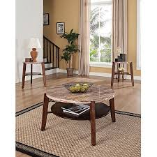 3 piece end table set nadav round faux marble 3 piece coffee and end table set brown