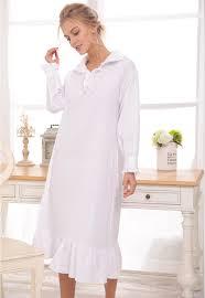 robe de chambre blanche longue chemise de nuit blanche robe à manches longues coton ruches