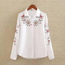 embroidered blouses floral embroidered blouse shirt slim white tops sleeve