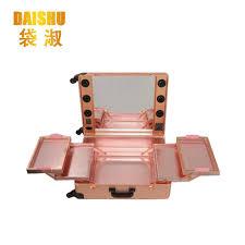 Vanity Box Makeup Artistry Rose Gold Aluminum Makeup Artist Rolling Makeup Case Guangzhou