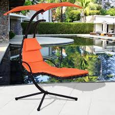 costway hanging chaise lounge chair arc stand air porch swing